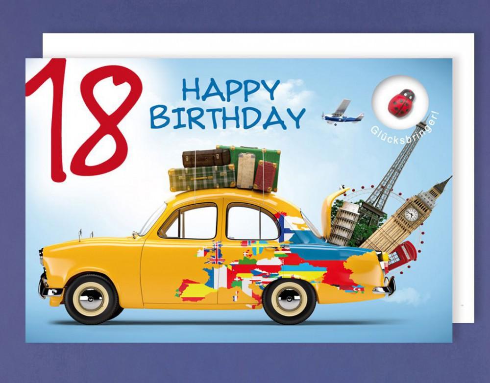 Grußkarte 18 Geburtstag Karte Happy Birthday Applikation Glücksbringer C6 507365