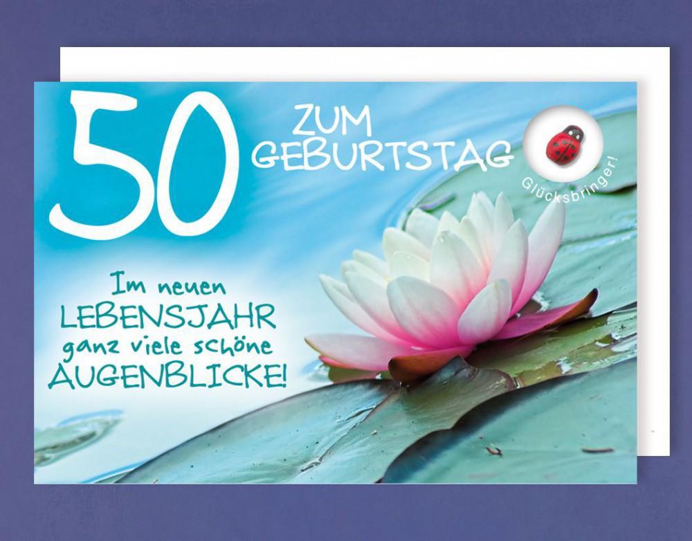 Grußkarte 50 Geburtstag Karte Happy Birthday Applikation Glücksbringer Lebensjahr C6 507367