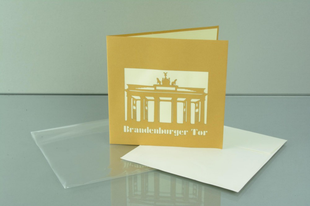 berlin 3 d pop up gru karte brandenburger tor handmade 15x15cm 507632. Black Bedroom Furniture Sets. Home Design Ideas