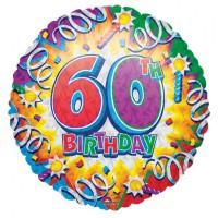 Folienballon 60 Geburtstag Helium nicht mit Ballongas gefüllt, leerSerie Explosion 45cm