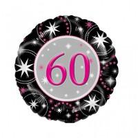 Folienballon 60 Geburtstag Helium mit Gas gefüllt Serie schwarz pink 45cm