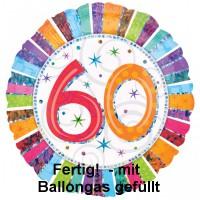 Folienballon 60 Geburtstag Helium  mit Gas gefüllt Serie Konfettibunt 45cm