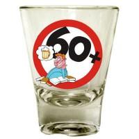 Schnaps Glas 60. Geburtstag, 4er Set, vier Gläser