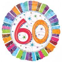 Folienballon  60 Geburtstag Helium nicht mit Gas gefüllt, leer Serie Konfettibunt 45cm