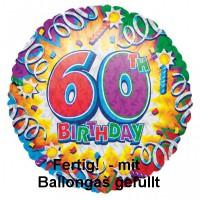 Folienballon 60 Geburtstag Helium mit Gas gefüllt Serie Explosion 45cm