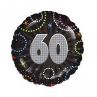 Folienballon 60 Geburtstag Helium mit Ballongas gefüllt Happy Birthday schwarz 45cm