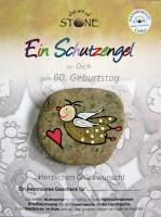 Schutzengel 60 Geburtstag Stein in Handarbeit bemalt von Künstlern Glückwunsch Karte 11x15cm