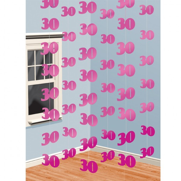 girlande 30 geburtstag pink 6x2m 505057. Black Bedroom Furniture Sets. Home Design Ideas