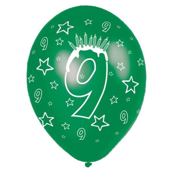 Luftballons 9. Geburtstag 27,5cm gemischte Farben, 6 Stück 505125