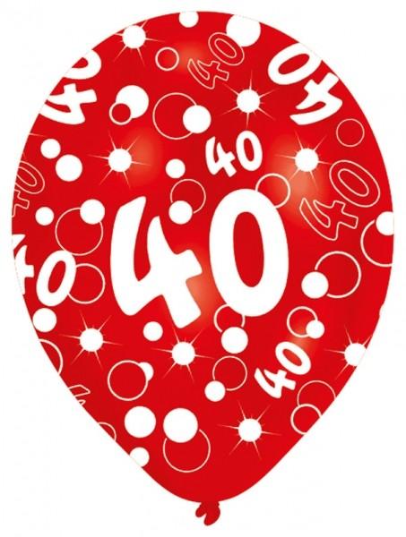 Luftballons 40. Geburtstag 27,5cm gemischte Farben, 6 Stück 505131