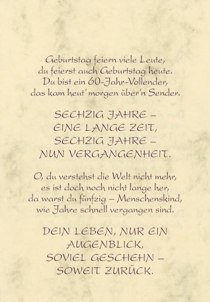Grußkarte Urkunde Zum 60. Geburtstag herzliche Glückwünsche A5 505326