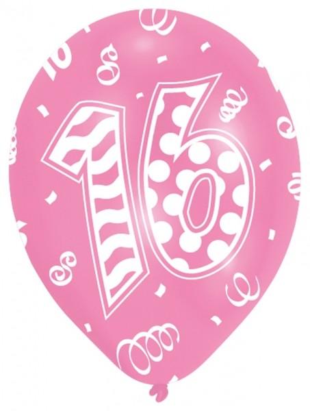 Luftballons 16. Geburtstag 27,5cm Farben, Pink und Rosa, 6 Stück 505743