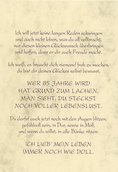 Grußkarte Urkunde Zum 85. Geburtstag herzliche Glückwünsche A5 ...