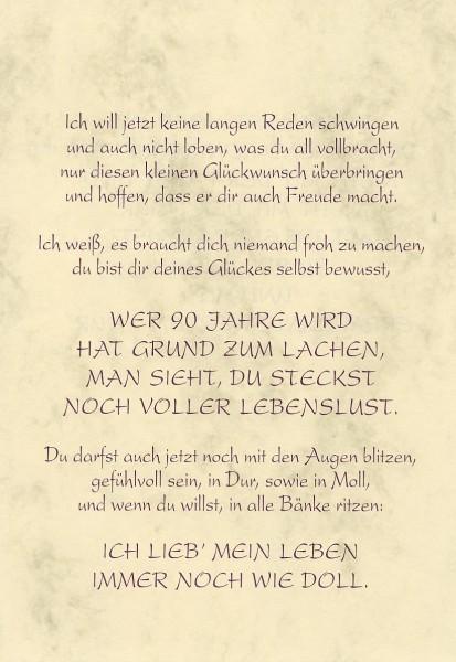 Grußkarte Urkunde Zum 90. Geburtstag herzliche ...